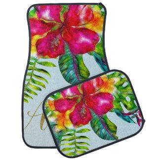 Aloha Bright Electric Pop Tropical Floral Car Mat