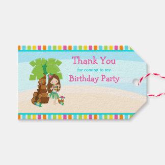 Aloha Brown Hair Girl Gift Tag
