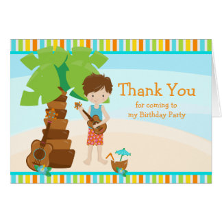 Aloha Brunette Boy Thank You Card