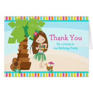 Aloha Brunette Hair Girl Thank You Card