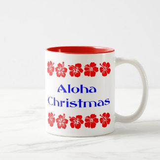 Aloha Christmas Red Hibiscus Hawaiian Mug