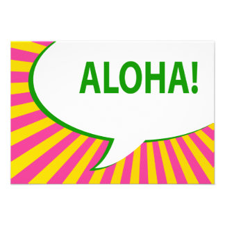 aloha! : comic speech bubble announcement