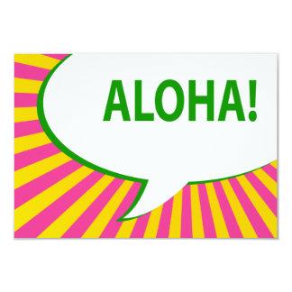 "aloha! : comic speech bubble 3.5"" x 5"" invitation card"