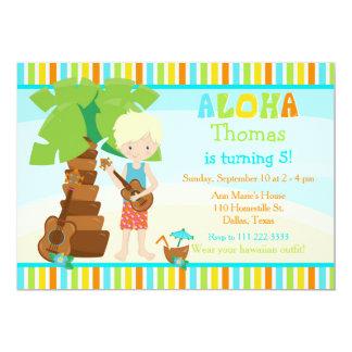 Aloha Cute Blonde Hair Boy Birthday Party Card