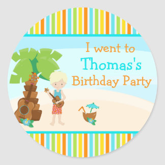 Aloha Cute Blonde Hair Boy Party Classic Round Sticker