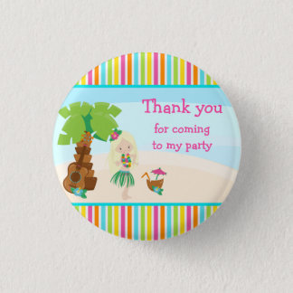 Aloha Cute Blonde Hair Girl 'Thank you for coming' 1 Inch Round Button