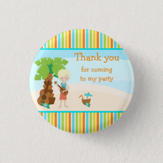 Aloha Cute Blonde Hair 'Thank you for coming' 1 Inch Round Button