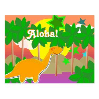 Aloha Dinosaur Sunset Postcard