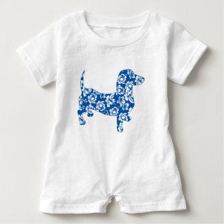 Aloha-Doxie-Blue Baby Romper
