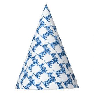 Aloha-Doxie-Blue Party Hat