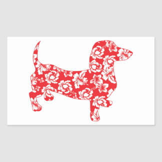 Aloha Doxie Dachshund Rectangle Stickers