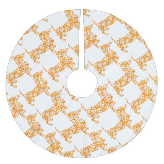Aloha-Doxie-Orange Brushed Polyester Tree Skirt