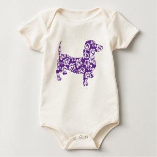 Aloha-Doxie-Purple Baby Bodysuit