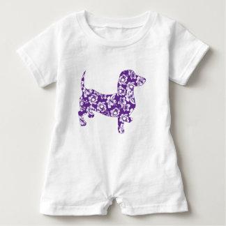 Aloha-Doxie-Purple Baby Romper