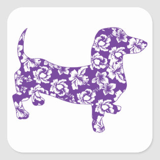 Aloha-Doxie-Purple Square Sticker