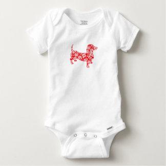 Aloha-Doxie-Red Baby Onesie