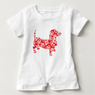 Aloha-Doxie-Red Baby Romper