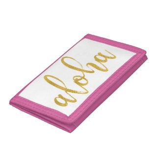 Aloha fancy faux gold glitter brush script trifold wallet