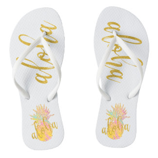 Aloha fancy faux gold glitter pastel pineapple flip flops