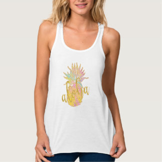 Aloha fancy faux gold glitter pastel pineapple tank top