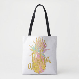 Aloha fancy faux gold glitter pastel pineapple tote bag