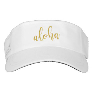 Aloha fancy faux gold glitter pastel pineapple visor