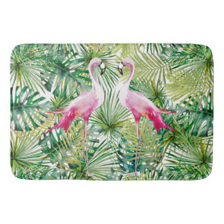 Aloha Flamingo Bird Animal in Jungle Bathroom Mat