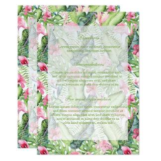 Aloha Flamingo Tropical Beach Wedding Card