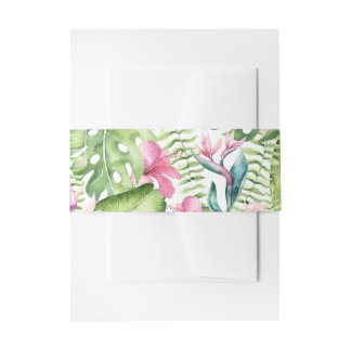 Aloha Flamingo Tropical Beach Wedding Invitation Belly Band