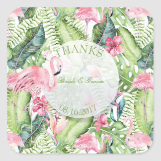 Aloha Flamingo Tropical Beach Wedding Thanks Square Sticker