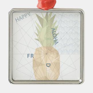 Aloha Friday Silver-Colored Square Ornament