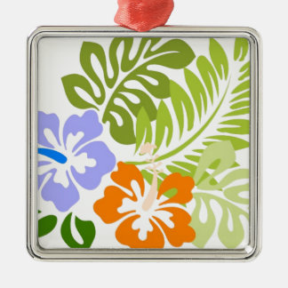 Aloha from Hawaii Silver-Colored Square Ornament