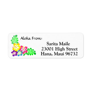 Aloha From Tropical Hibiscus Return Address Label