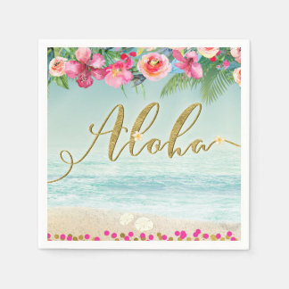 ALOHA Gold Tropical Beach Hibiscus Flowers Floral Disposable Napkins