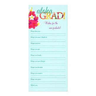 Aloha Grad Hawaiian Luau - Wishes Memory Note Personalized Rack Card