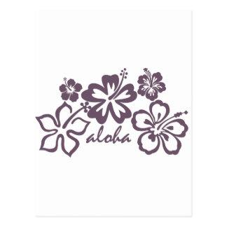 Aloha gray hibiscus postcard