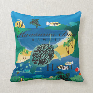 Aloha Hanauma Bay Hawaii Honu Throw Pillow
