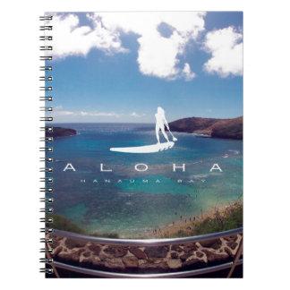 Aloha Hanauma Bay Hawaii Surfing Spiral Notebook