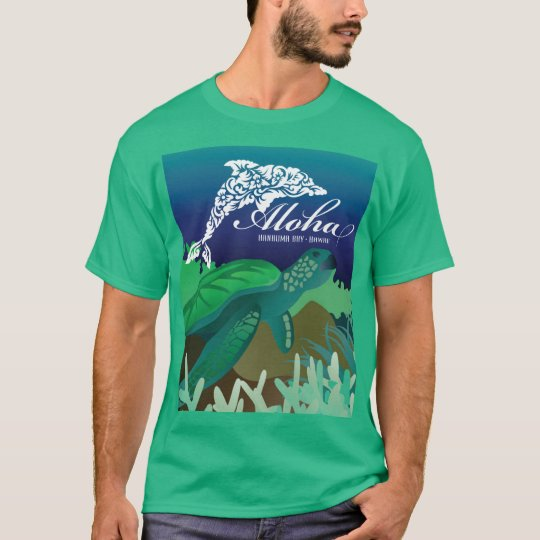 Aloha Hanauma Bay Hawaii Turtle and Dolphin T-Shirt