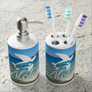 Aloha Hanauma Bay Oahu Turtle Soap Dispenser And Toothbrush Holder
