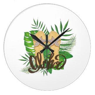 Aloha Hand Painting Palm Leaves Hand Drawn Large Clock