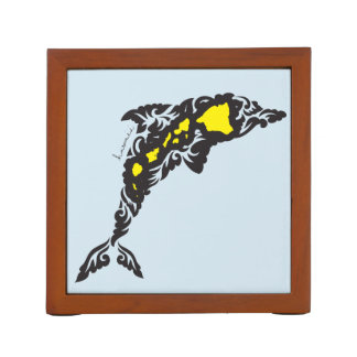 Aloha Hawaii Dolphin and Hawaii Islands Desk Organizer