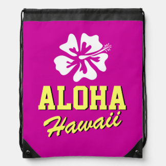 Aloha Hawaii flower beach drawstring backpack bag