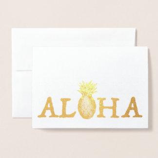 ALOHA Hawaii Hawaiian Luau Tropical Pineapple Foil Card