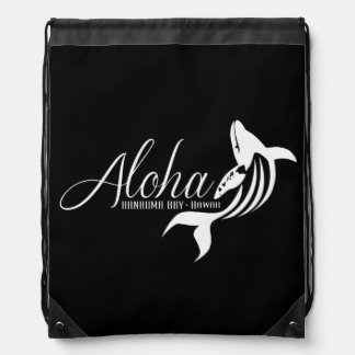 Aloha Hawaii Island Whale Drawstring Backpack