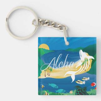 Aloha Hawaii Islands and Whale Keychain