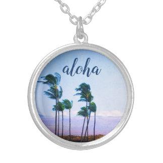 """""""Aloha"""" Hawaii Palm Trees & Purple Mountain Photo Silver Plated Necklace"""