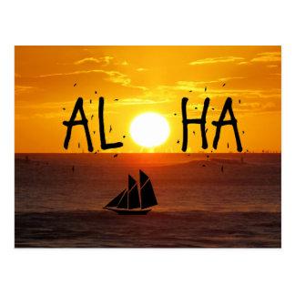 Aloha Hawaii Sunset Ocean Sailboat Postcard
