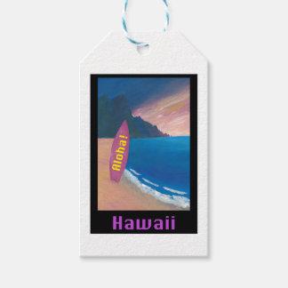 Aloha Hawaii Surfer Retro Poster Gift Tags
