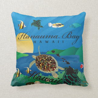 Aloha Hawaii Turtle and Flowers Throw Pillow